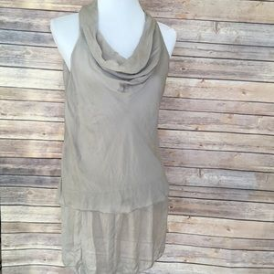 Beautiful Taupe Silky Lined Cowl Neck Tunic 🌺